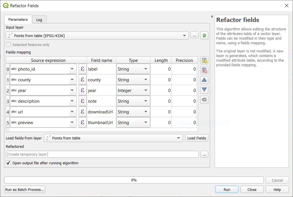refactor fields dialog
